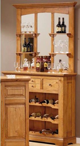 Meuble bar en chêne étagère