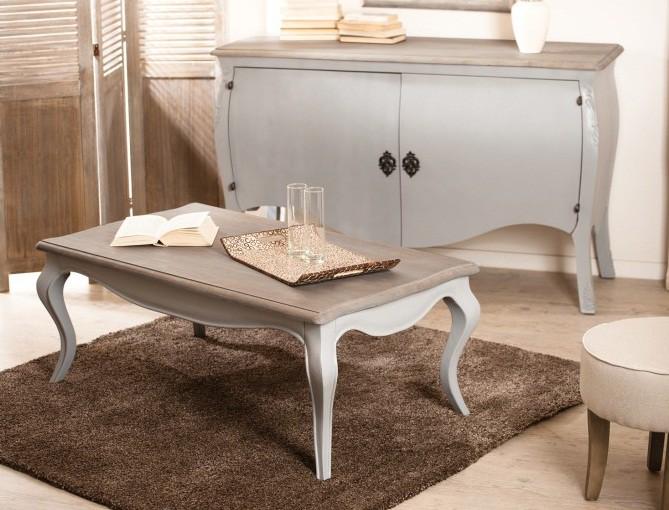 Table basse rectangulaire mango gris pieds galbés