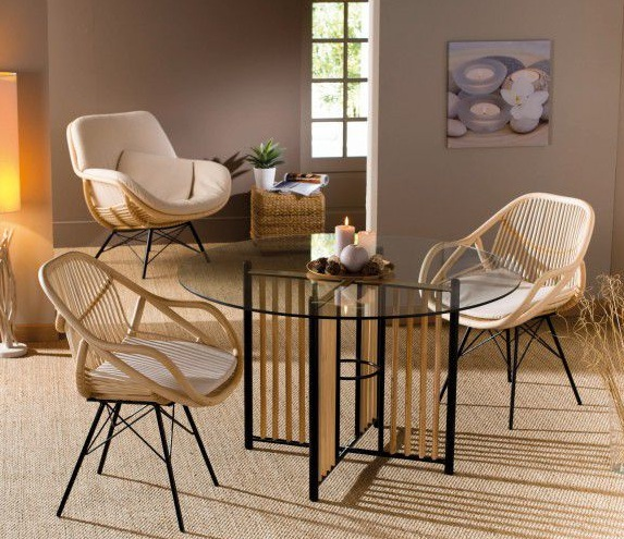 Chaise le blog d co destock meubles for Table rotin et verre