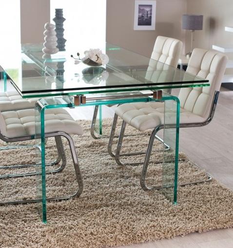 Table design QUARTZ rectangulaire en verre 2 allonges