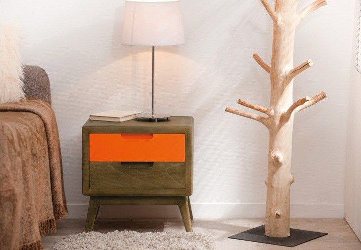 Chevet scandinave 2 tiroirs en mindi et laque orange