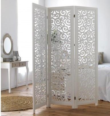 Paravent 3 panneaux ajourés en bois exotique blanc motifs courbes