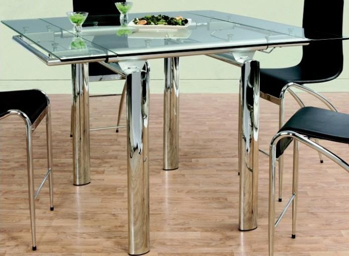 Table haute extensible plateau verre pieds chromés
