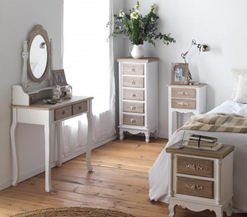 Coiffeuse avec miroir pin massif blanc 4 tiroirs brun blanchi