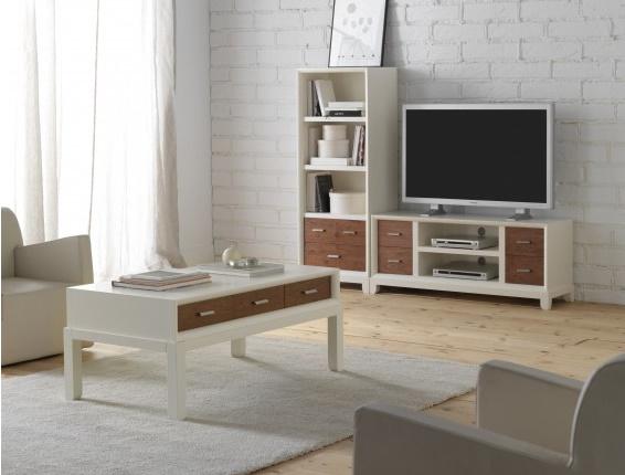 Table basse rectangulaire laquée blanc mahogany massif 6 tiroirs