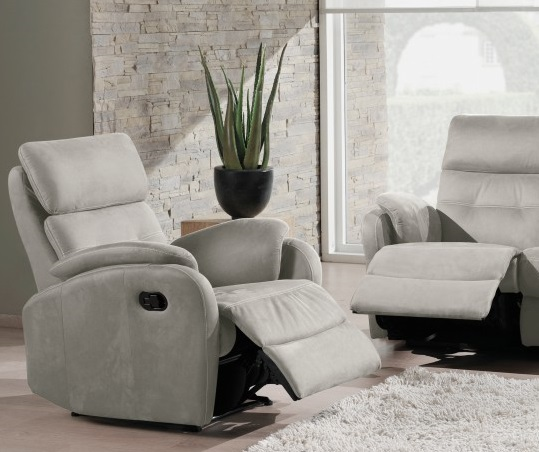 Fauteuil relax KERRY microfibre gris