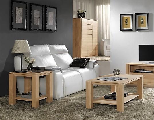 Bout de canapé double plateau en chêne naturel