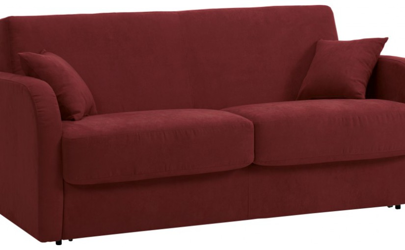 Canapé rapido 3 places convertible STAR microfibre bordeaux