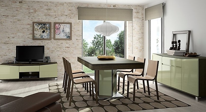 Table rectangulaire chêne royal anthracite et laque