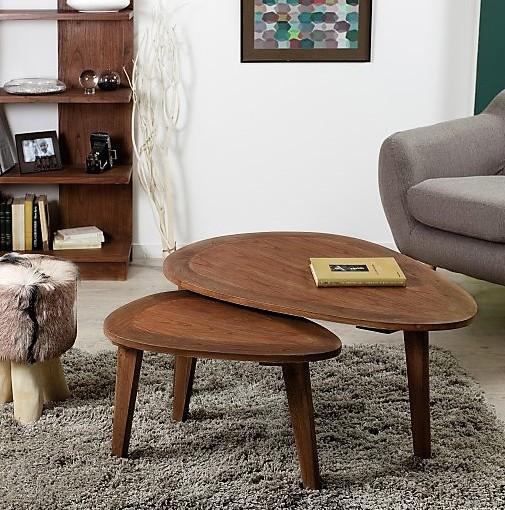 Table basse ovale scandinave en mindi