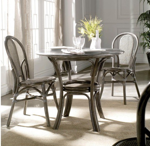 Chaise bistrot rotin et cannage gris