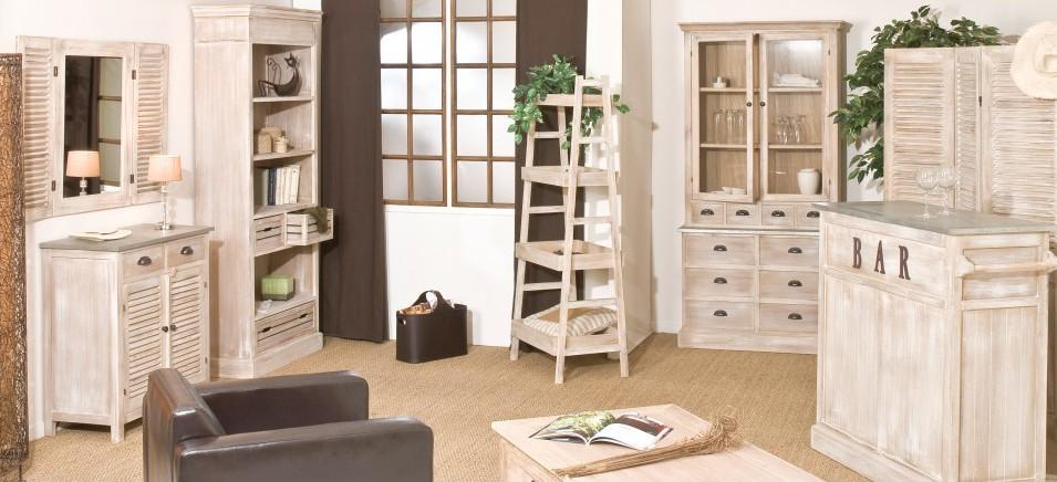 Meubles de rangement en bois exotique blanchi