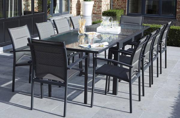Ensemble Modulo 1, table rectangulaire et 10 fauteuils aluminium gris