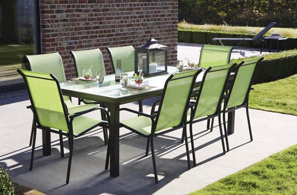 Table de jardin en aluminium noir