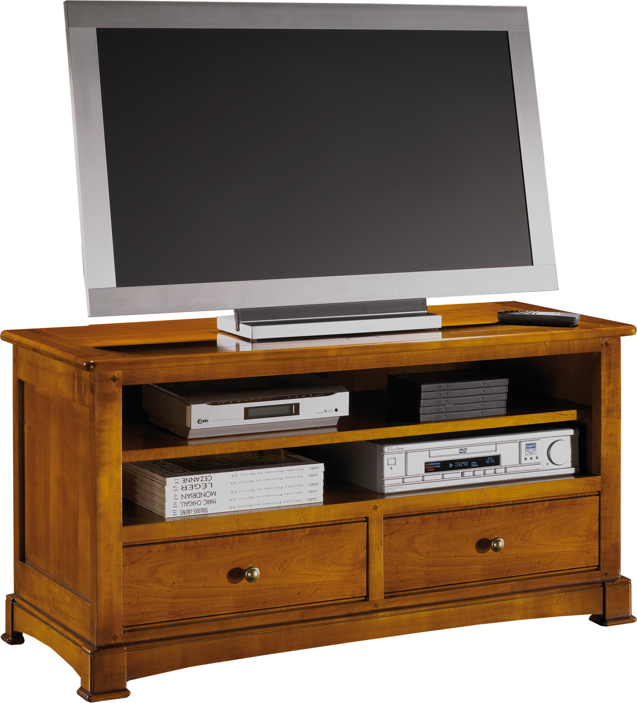 meuble tv hifi 2 tiroirs 2 niches. Black Bedroom Furniture Sets. Home Design Ideas