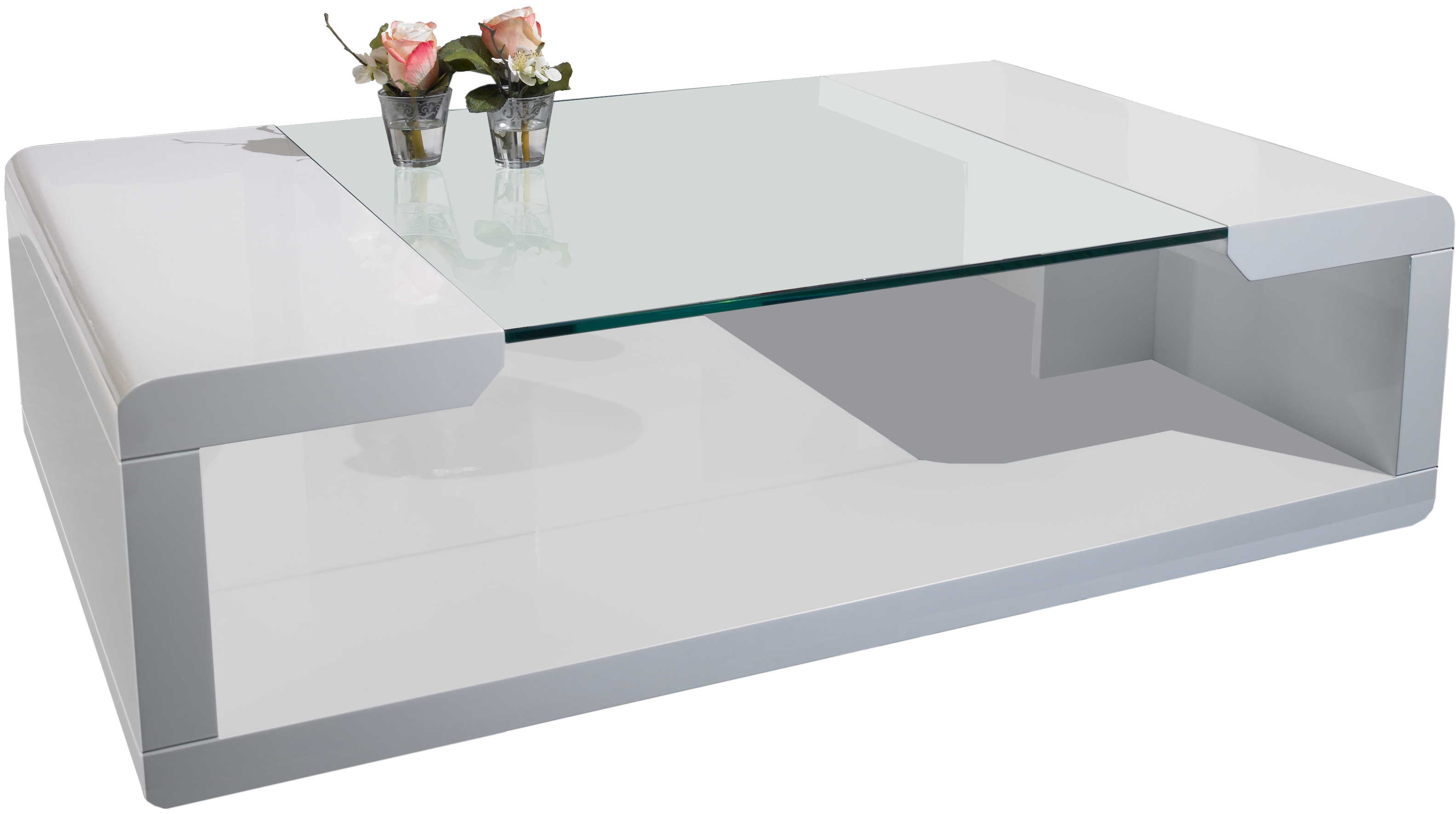 Table basse blanc divoire - Table basse blanc verre ...