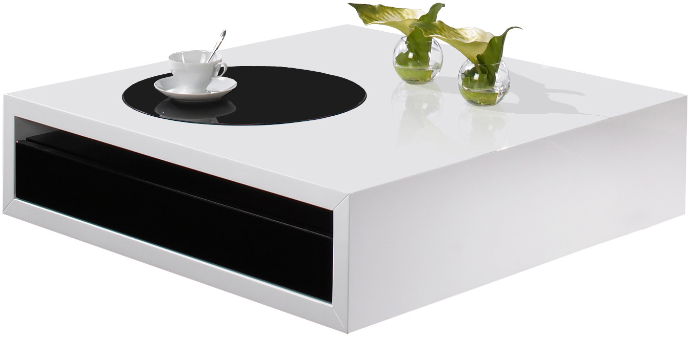 Table basse carree noir et blanc for Table basse blanc laque