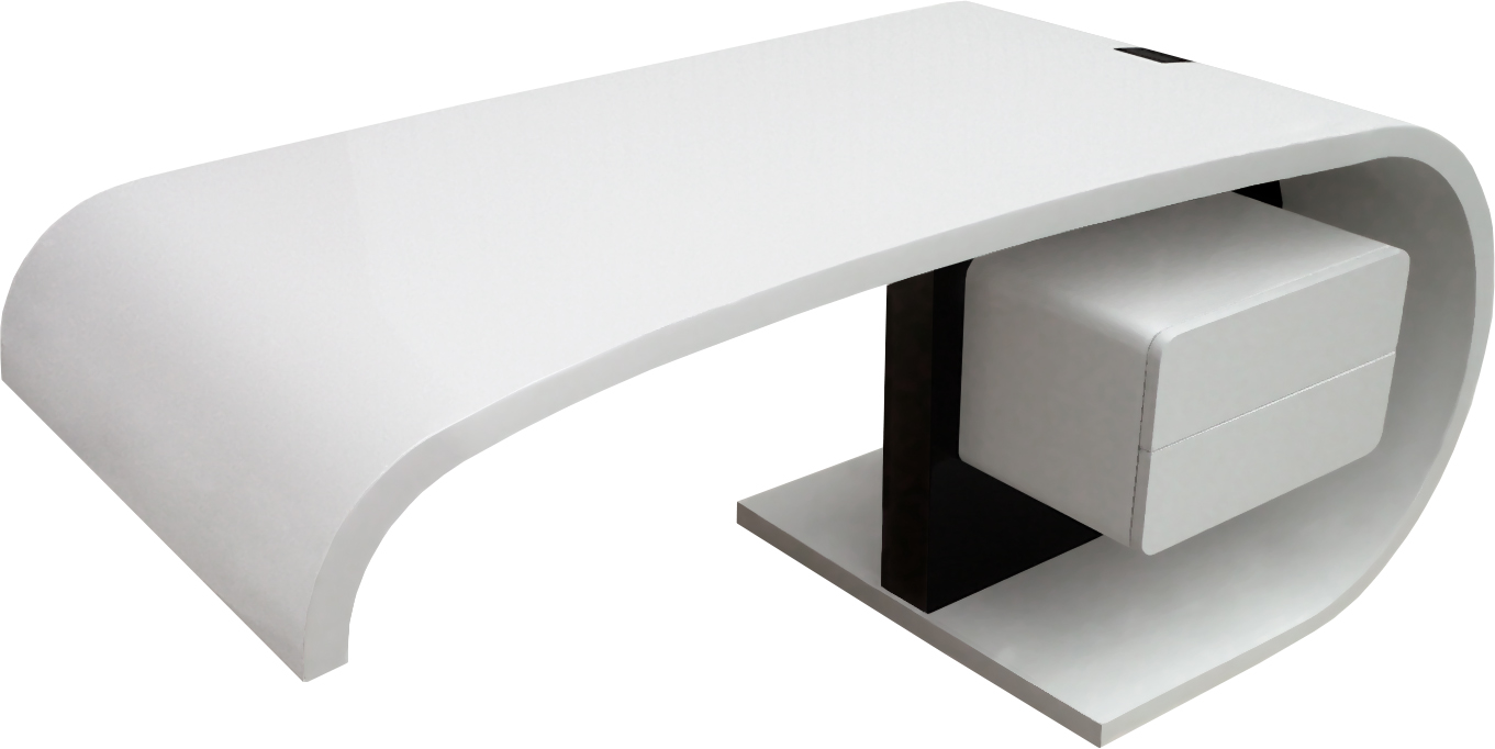 Soldes bureau design blanc laqu amovible max pictures to for Bureau blanc design