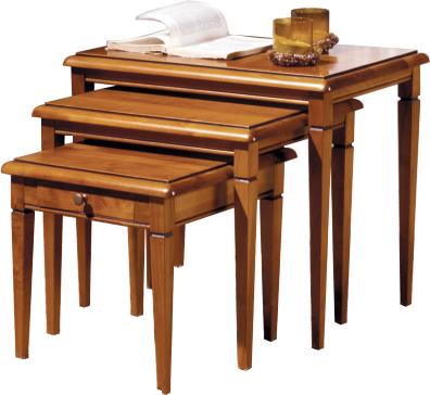 Tables gigognes merisier 1 tiroir pieds fuseau