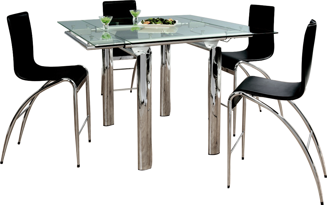 Table haute verre design - Table haute bar extensible ...
