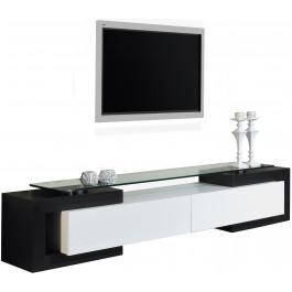 Banc Tv Design Laque Blanc Et Noir Brillants Salon