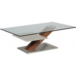 Table Basse Design Verre Trempé Double Plateau Pied Noyer