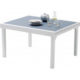 Table de jardin rectangulaire extensible aluminium blanc et verre ...