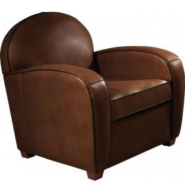 1000 - Fauteuil club rond Amélie cuir basane brun