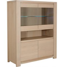 10287 - Buffet vaisselier eclairage led 4 portes chêne et verre