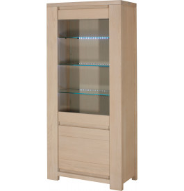 10302 - Vitrine eclairage led 2 portes chêne et verre