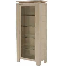 10345 - Vitrine 1 porte verre chêne blanc pierre