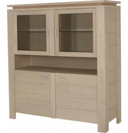 10393 - Buffet vaisselier 4 portes 1 niche chêne blanc pierre