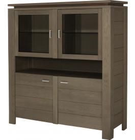 10399 - Buffet vaisselier 4 portes 1 niche chêne gris titane