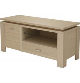 10405 - Meuble TV 1 porte 1 niche 1 tiroir chêne blanc pierre