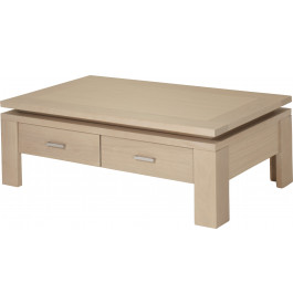 10435 - Table basse 2 tiroirs chêne blanc pierre