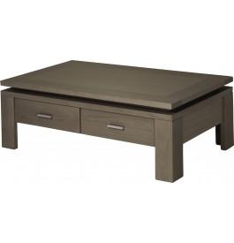 10439 - Table basse 2 tiroirs chêne gris titane