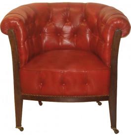 1044 - Fauteuil club cabriolet sur roulettes Chaumont cuir basane rouge