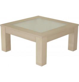 10455 - Table basse carrée chêne blanc pierre plateau verre