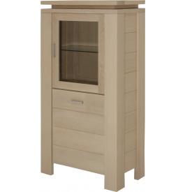 10479 - Petite vitrine 2 portes chêne blanc pierre