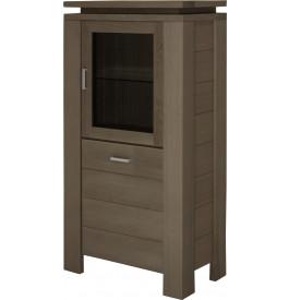 10485 - Petite vitrine 2 portes chêne gris titane