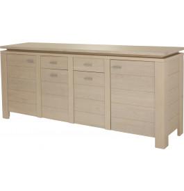 Buffet 4 portes 2 tiroirs chêne blanc pierre