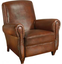 1049 - Fauteuil club Cirac cuir basane clouté havane