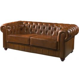 1053 - Canapé club Chesterfield cuir basane clouté havane