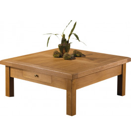 10568 - Table basse carrée chêne massif ciré 1 tiroir