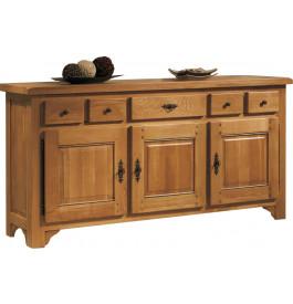 10602 - Buffet chêne massif ciré 3 portes 3 tiroirs