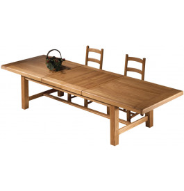 10624 - Table de ferme chêne massif ciré L220 avec allonges centrales