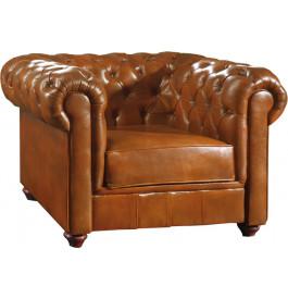 1063 - Fauteuil club Chesterfield cuir basane clouté miel