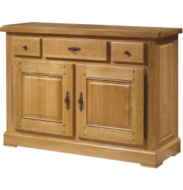 10658 - Buffet chêne massif ciré 2 portes 3 tiroirs