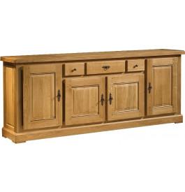 10666 - Buffet chêne massif ciré 4 portes 3 tiroirs