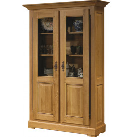 10675 - Bibliothèque 100% chêne massif ciré 2 portes vitrées